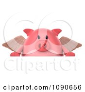 Clipart 3d Pookie Pig Angel With A Sign 1 Royalty Free CGI Illustration