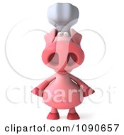 Clipart 3d Chef Pig Facing Front Royalty Free CGI Illustration