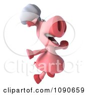 Clipart 3d Chef Pig Leaping And Facing Right Royalty Free CGI Illustration