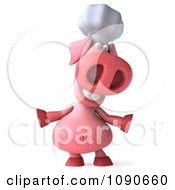 Clipart 3d Chef Pig Smiling And Shrugging Royalty Free CGI Illustration