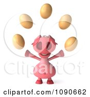 Clipart 3d Pookie Pig Juggling Eggs 1 Royalty Free CGI Illustration
