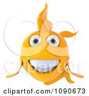 Clipart 3d Happy Yellow Fish Royalty Free CGI Illustration