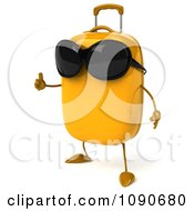 Clipart 3d Yellow Suitcase Wearing Sunglasses And Holding A Thumb Up Royalty Free CGI Illustration