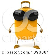 Clipart 3d Yellow Suitcase Wearing Sunglasses Royalty Free CGI Illustration