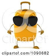 Clipart 3d Tough Yellow Suitcase Wearing Sunglasses Royalty Free CGI Illustration