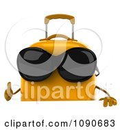 Clipart 3d Yellow Suitcase Wearing Sunglasses And Holding A Sign 1 Royalty Free CGI Illustration