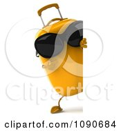 Clipart 3d Yellow Suitcase Wearing Sunglasses And Holding A Sign 2 Royalty Free CGI Illustration
