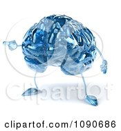 Clipart 3d Blue Glass Brain Pointing To The Left Royalty Free CGI Illustration