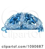 Clipart 3d Blue Glass Brain Pointing Down At A Sign Royalty Free CGI Illustration