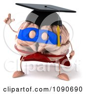 Clipart 3d Super Hero Valedictorian Graduate Brain With An Idea Royalty Free CGI Illustration