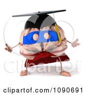 Clipart 3d Super Hero Valedictorian Graduate Brain Shrugging Royalty Free CGI Illustration