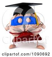 Clipart 3d Super Hero Valedictorian Graduate Brain Flying 1 Royalty Free CGI Illustration