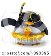 Clipart 3d Chubby Snorkel Penguin With An Inner Tube Pointing Left 1 Royalty Free CGI Illustration