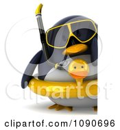 Clipart 3d Chubby Snorkel Penguin With An Inner Tube And Sign 1 Royalty Free CGI Illustration