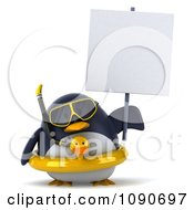 Clipart 3d Chubby Snorkel Penguin With An Inner Tube And Sign 2 Royalty Free CGI Illustration