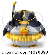 Clipart 3d Chubby Snorkel Penguin With An Inner Tube Royalty Free CGI Illustration by Julos