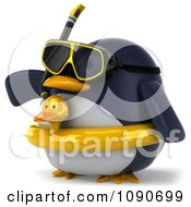 Clipart 3d Chubby Snorkel Penguin With An Inner Tube Pointing Left 2 Royalty Free CGI Illustration