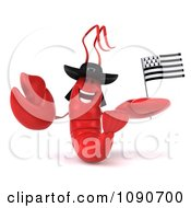3d Red Lobster Waving A Breton Flag 1