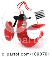 3d Red Lobster Waving A Breton Flag 2