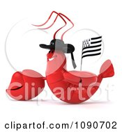 Clipart 3d Red Lobster Waving A Breton Flag 3 Royalty Free CGI Illustration