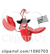 3d Red Lobster Waving A Breton Flag 4