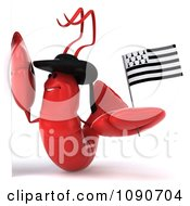 Clipart 3d Red Lobster Waving A Breton Flag By A Sign 1 Royalty Free CGI Illustration