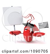 Clipart 3d Red Lobster Waving A Breton Flag By A Sign 2 Royalty Free CGI Illustration