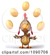 Clipart 3d Brown Chicken Juggling Eggs 1 Royalty Free CGI Illustration by Julos