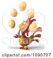 Clipart 3d Brown Chicken Juggling Eggs 1 Royalty Free CGI Illustration