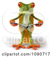 Clipart 3d Springer Frog Reading On The Toilet 1 Royalty Free CGI Illustration