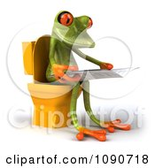 Clipart 3d Springer Frog Reading On The Toilet 2 Royalty Free CGI Illustration