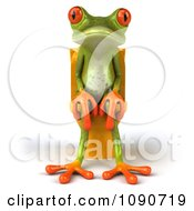 Clipart 3d Springer Frog Sitting On A Yellow Toilet 1 Royalty Free CGI Illustration