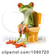 Clipart 3d Springer Frog Sitting On A Yellow Toilet 2 Royalty Free CGI Illustration