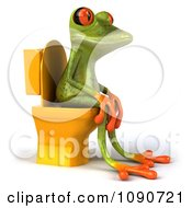 Clipart 3d Springer Frog Sitting On A Yellow Toilet 3 Royalty Free CGI Illustration