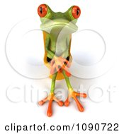 Clipart 3d Springer Frog Sitting On A Yellow Toilet 4 Royalty Free CGI Illustration