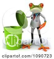 Clipart 3d Doctor Springer Frog Opening A Recycle Bin Royalty Free CGI Illustration