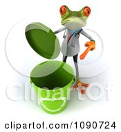 Clipart 3d Doctor Springer Frog Pointing At An Open Recycle Bin Royalty Free CGI Illustration
