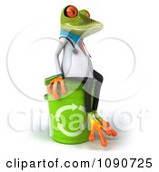 3d Doctor Springer Frog Sitting On Top Of A Recycle Bin