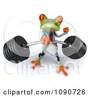 Clipart 3d Fit Doctor Springer Frog Lifting Barbell Weights One Handed Royalty Free CGI Illustration