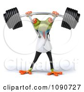 Clipart 3d Fit Doctor Springer Frog Lifting Barbell Weights Above His Head Royalty Free CGI Illustration
