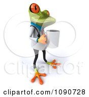 3d Doctor Springer Frog With A Coffee Cup