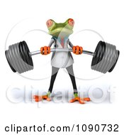 Clipart 3d Fit Doctor Springer Frog Lifting Barbell Weights 1 Royalty Free CGI Illustration