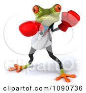 Clipart 3d Doctor Springer Frog Punching With Boxing Gloves 1 Royalty Free CGI Illustration