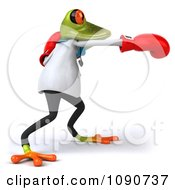 Clipart 3d Doctor Springer Frog Punching With Boxing Gloves 2 Royalty Free CGI Illustration