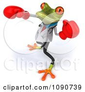 Clipart 3d Doctor Springer Frog Punching With Boxing Gloves 4 Royalty Free CGI Illustration