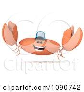 Clipart 3d Crab Wearing A Baseball Cap And Jumping Royalty Free CGI Illustration