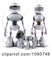Clipart 3d Futuristic Robotic Dog Standing With A Couple Royalty Free CGI Illustration