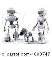 Clipart 3d Futuristic Robotic Dog Walking With A Couple Royalty Free CGI Illustration
