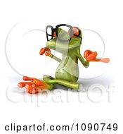 Clipart 3d Green Springer Frog Meditating In EyeGlasses Royalty Free CGI Illustration