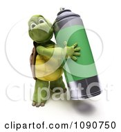 Clipart 3d Tortoise Carrying Spray Paint Royalty Free CGI Illustration